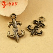 23*15MM Antique Bronze Vintage Cherry mobile phone accessories wholesale DIY flower zinc alloy fleur de lis charm pendant beads