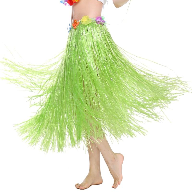 HOT Hawaiian Party Girl 1//4 Piece Kit Beach Party Lei Grass Hula Skirt Outfit