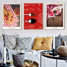 Modern Home Decoration Sweet Circles Canvas Painting Restaurant Wall Art Strawberry Wall Pictures Painting For Living Room(China)