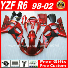 Fairing kit for YAMAHA R6 1998 - 2002 1999 2000 2001 red black plastic parts 98 99 00 01 02 fairings kits H6S2