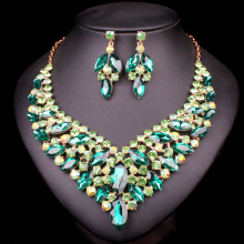 New Indian Crystal Necklace Earrings sets Bridal Jewelry Sets For Brides Wedding Party Costume Decoration supplies for jewelry(China)