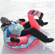 5pcs/lot 0.6mm PVC Cold-resistant inflatable flamingo winter snow tube inflatable flamingo Snow Scooter Ski for Christmas gift(China)