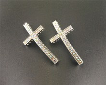10pcs 24x47mm Silver Plated AB Rhinestone Sideways Cross Connector diy jewelry findings bracelet RS673(China)