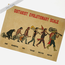 Rock Evolution Painting Vintage Kraft Poster retro bar cafe design wall sticker home decoration 42x30cm YTP-113