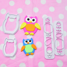 4Pcs Owl Cake Fondant Molds Cute Cartoon Animals Design DIY Food-grade Silicone 3D Cake Fondant Molds Fondant Baking Tool