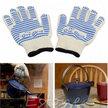 Silicone  540 F Heat Proof Resistant Mitt Ove Oven Glove Burn BBQ Fire Hot Surface Handler