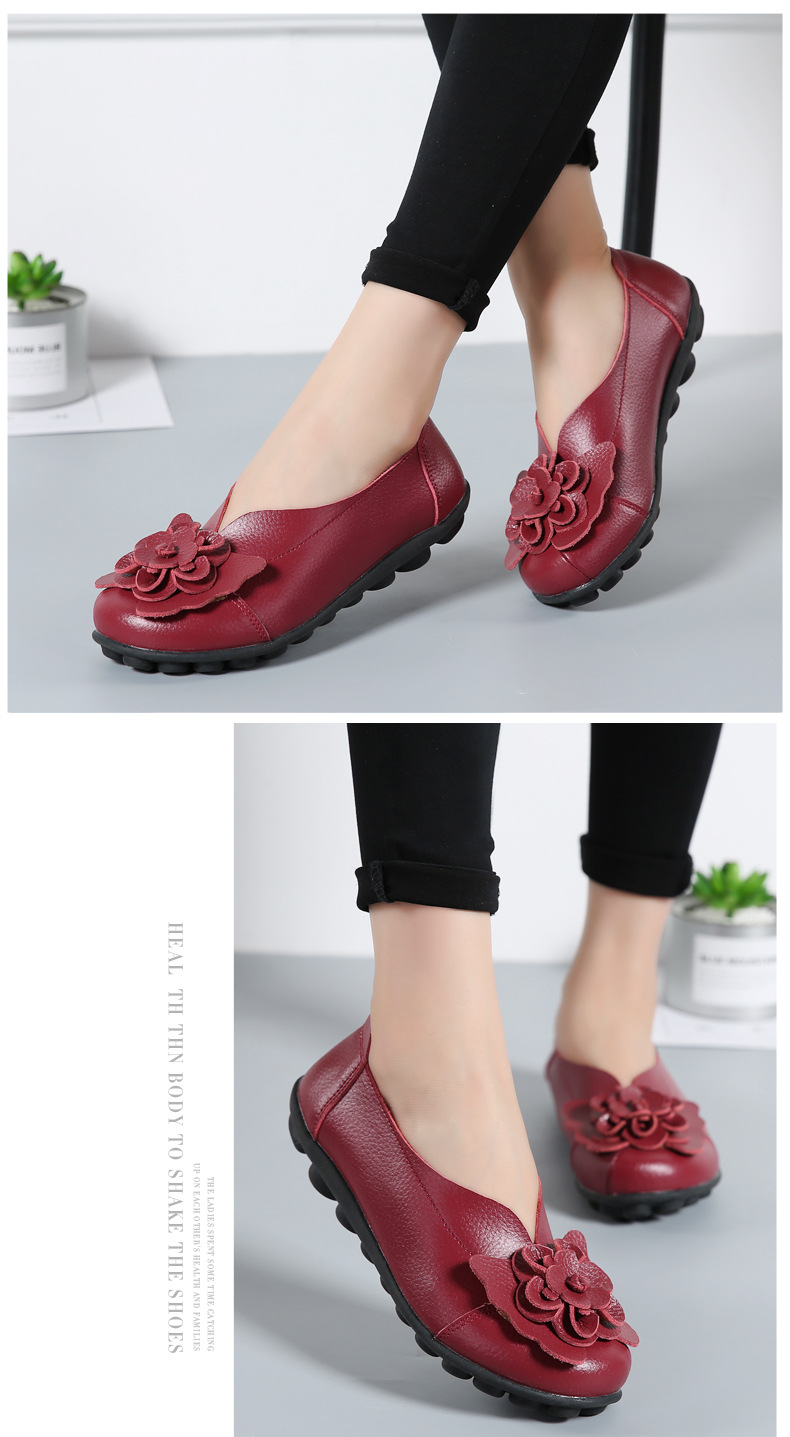 Women Real Leather Shoes Flower Moccasins Mother Loafers Soft Leisure Flats Casual Female Driving Ballet Footwear Women Shoes 26