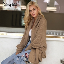 Simplee Batwing knitted shrug sweater women Autumn winter fashion tricot warm jumper sweater oversize shawl cardigan sweaters