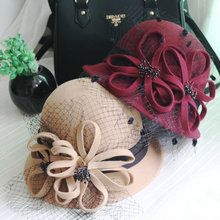High End Elegant Lady Wool Flower Bucket Hat With Flower Black Veil Red Camel Party Church Dress Hat Vogue Women Warm Wool Hat