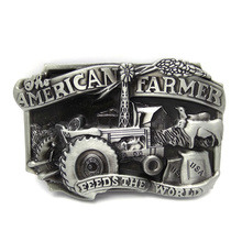 American farmer feeds the world tractor metal belt buckle mens big buckles wholesale custom buckle for belt Accessories(China)