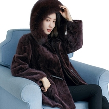 European Genuine Piece Mink Fur Coat Jacket Winter Women Fur Warm Outerwear Coats Garment Plus Size 3XL 4XL LF4231(China)
