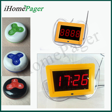 Table buzzer system round waiter pager with pound sterling 2 buttons + 1 receiver for sample order