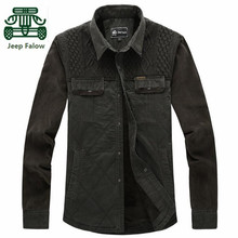 AFS JEEP Falow Winter 2015 Thickness Keep Warmly Shirt for Men,Original Brand Casual Knitted Chest Plus Size Cargo Cotton Shirt