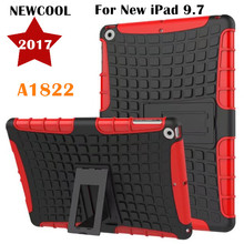 FOR iPad Air 1 Amor Back Cover for NEW iPad 9.7 2017 A1822 Tablet Case Tire Grain TPU+PC Heavy Duty Case Hybrid Rugged Rubber(China)