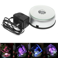 3D Laser 7 LED Rotating Electric Light Stand Base Display Stand for Crystal Glass Jewelry Watch Show Holder Home Decor Gift