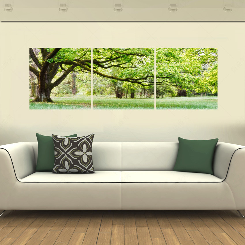 4 Panels Framed Green tree Painting New Arrivals Printings Paintings Wall Art Home Decoration Canvas Oil Painting ForLiving Room(China (Mainland))