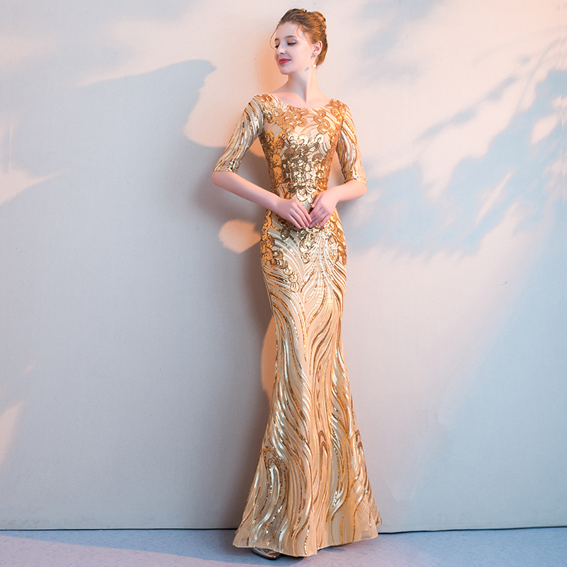 YIDINGZS Luxury Gold Long Sequins Evening Dresses Half Sleeve Mermaid Prom Party Formal Dresses(China)