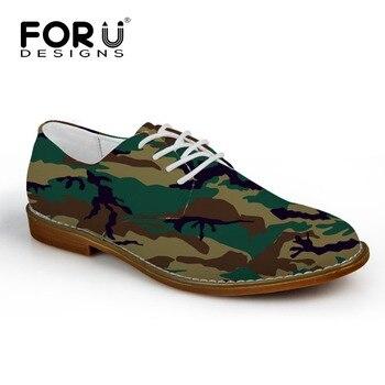 FORUDESIGNS Primavera Otoño 2017 Nuevos hombres Zapatos de Cuero Casual Hombres Pisos Cordón Camuflaje Moda Oxfords Zapatos para Hombre Comodidad