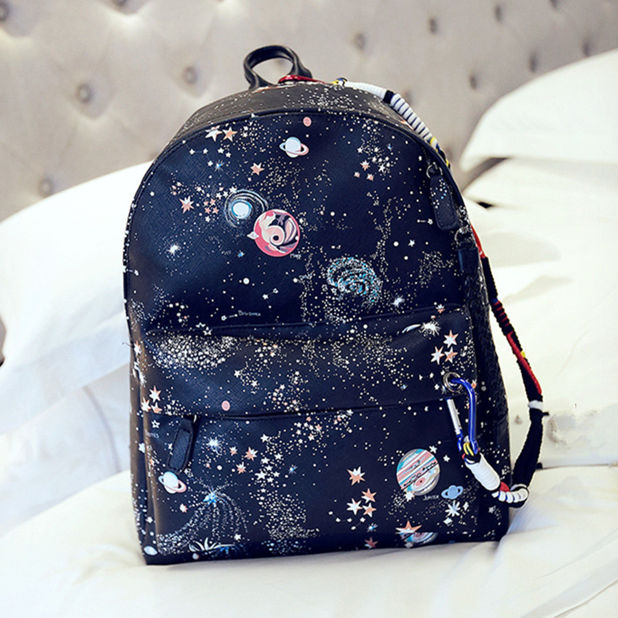 2016 Black Backpack Women Stylish Galaxy Star Universe Space Backpack Rucksacks For Girls Backbag Mochila Feminina<br>