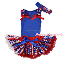 4th July Ruffle Bow Blue Pettitop Patriotic Star Stripe Newborn Baby Skirt With a  Clip & Headband 3-12M NG1258