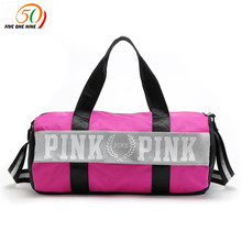 fashion girl stripe duffle bag pink Victoria beach shoulder bag large capacity secret Overnight weekender vs bag(China)