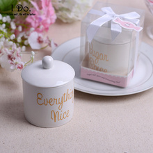 Free Shipping Ceramic Sugar & Spice Jar Wedding Favors And Gifts For Guests Souvenirs Decoration Event & Party Supplies(China)