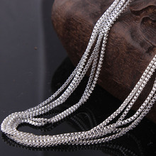 wholesale jewellery silver box chain for pendant stock 16 18 20 22 24 26 28 30 inch silver chain 10pcs packing in opp bag