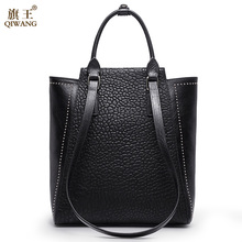Qiwang Large Rivet Women Bag China Brand Handbag with Long Top Handles Strap Handbag Big Real Leather Women's Bag(China)