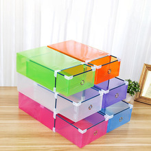 6 Colors Plastic Shoe Storage Box Case Drawer Candy Color Organizer Save Space Shoe Box 310*200*110mm(China)