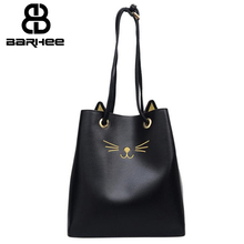 Best Special Offer New Cat Bucket Quality PU Leather Women Handbags 2017 Brand Tote Bag Plaid Top-handle Famous Designer Totes(China)