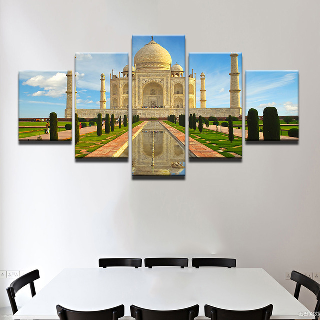 Modern-Abstract-5-Panel-Taj-Mahal-Reflection-Landscape-Picture-Painting-On-The-Canvas-For-Frames-Drop.jpg_640x640