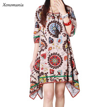 Boho Clothing Hippie Robe Femme Online Shopping India Autumn Dress 2017 Korean Lolita Plus Size Ethnic Vestidos Ukraine Floral(China)