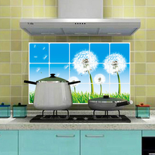 Kitchen Water Oil Proof Sticker Papers Decals Practical Kitchen Wall Aluminum Foil Wallpaper for Kitchen Home Decor Flower