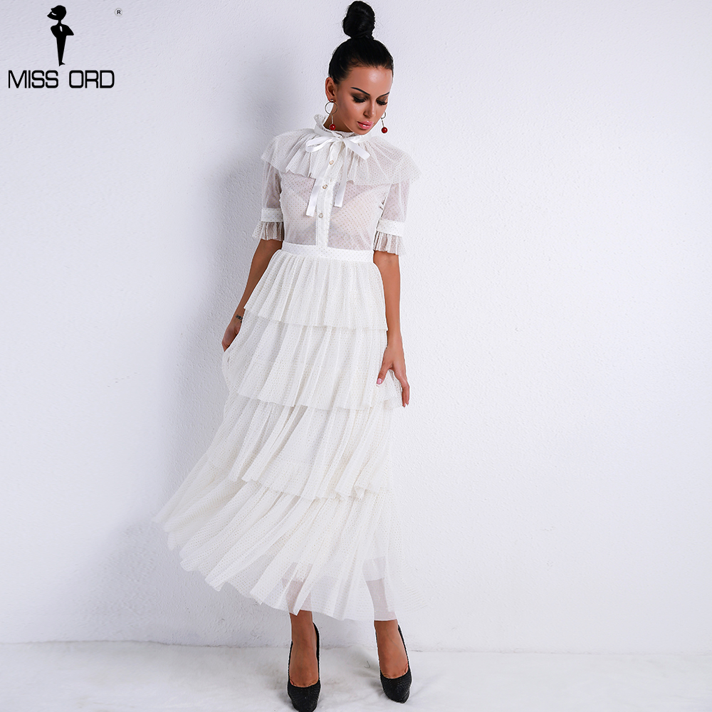 Missord 2019 Women Sexy Retro High Neck Long Sleeve Flash See Through Dress Female Elegant Ruffles Party Dress Vestdios FT9237-1
