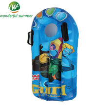 Hot-sale Cartoon Print Children Inflatable Water Ski Surfboard With Handle Kickboard Swimming Pool Lounge Bed Floating Row/Raft