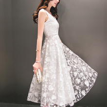 Summer Chiffon Dress 2017 Womens Floral Printed Dresses Ladies Ball Gown White Organza High Low Evening Party Mid Calf Dresses