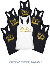 personalized wedding Bride Squad t shirts Bachelorette party bridesmaind tanks tops company gifts party favors(China)