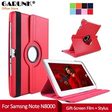 Cases for Samsung Note 10.1 N8000, GARUNK 360 Rotating Flip PU Leather Cover Smart Stand Folio Capas for Galaxy Note GT-N8000
