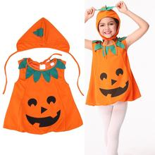 2017 Cute Halloween Clothes Set Infant Baby Girls Dress+Hat Kids Costume  Pumpkin Outfit Clothing Cosplay