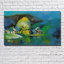 BA Oil Painting Hand-painted Modern Design Canvas Painting Green Color Landscape Oil Paintings On Canvas no Framed Big Size(China)