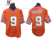 BONJEAN Mens Adam Sandler 9 Bobby Boucher American Football Jerseys The Waterboy Mud Dogs Football Jersey-Orange
