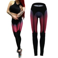 Women Sexy Good elasticity Fitness black and red grid Leggings Exercise Workout High Waist Pants aerobics Stretch Trousers(China)