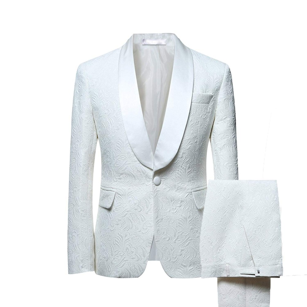 Mens Suits Shawl Collar 2 Pieces Slim Fit White Ivory Suit Mens Groom Jacket Tuxedos for Wedding Dress Evening(Blazer+Pants+Tie)