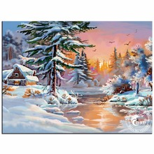 Diy Diamond Painting Kits Diamond Embroidery Rhinestone Round Rubik's Cube Diamond Mosaic Picture Home Decor Snow Winter Picture(China)