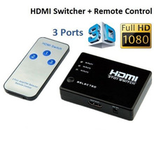 Switcher Splitter Hub & IR Remote 1080p 3 In 1 Out 3 PORT HDMI Switch Selector for Xbox360 for wii  For HDTV PS3 New arrvial