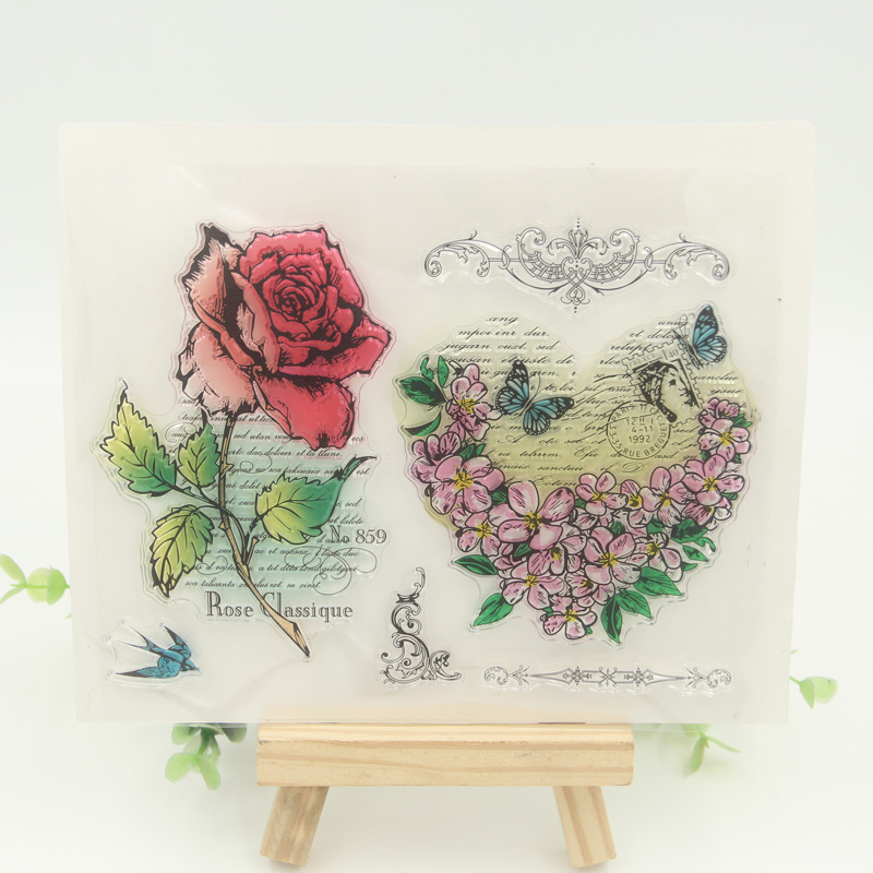 1 sheet DIY Roses Flowers Design Transparent Clear Rubber Stamp Seal Paper Craft Scrapbooking Decoration<br><br>Aliexpress