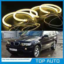 3000K Yellow/Amber CCFL Angel Eyes Headlight Kit Halo Ring Lamp DRL For BMW E53/X5 1999-2004