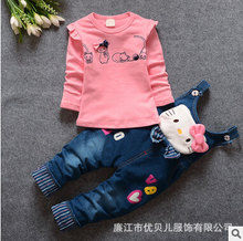 2016 autumn new girls Hello Kitty children clothing suit ,girls cottom t-shirt+Cowboy pants suit, baby girls clothes / in stock(China)