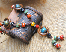 Retro Ethnic Style Copper Bells Wax Rope Lanyard Necklace Handmade Jewelry