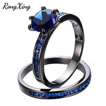 RongXing 2017 Fashion Round Cut Blue Zircon Ring Set For Women Wedding Sets Black Gold Filled September Birthstone Rings RB0546